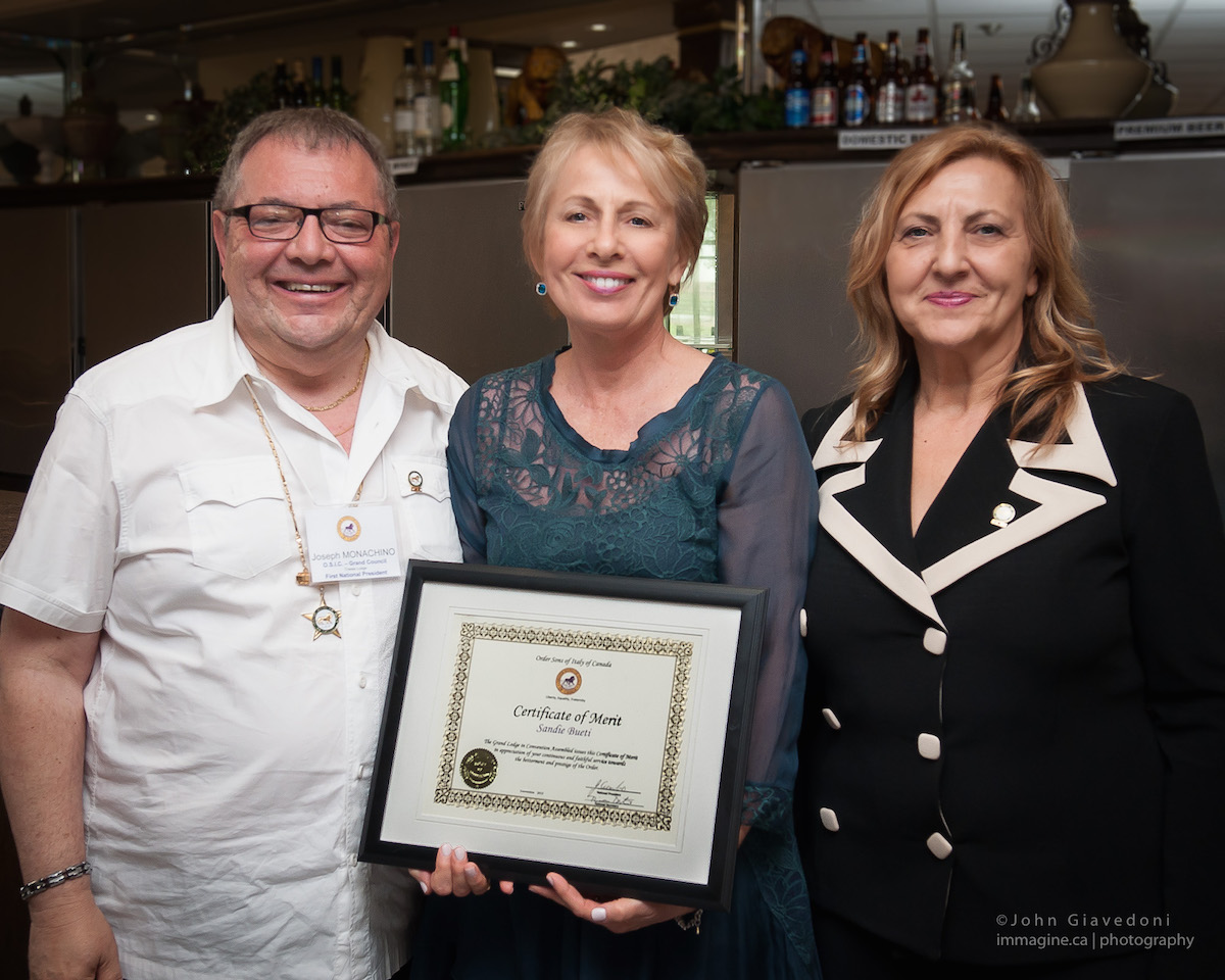 SANDIE BUETI WINS CERTIFICATE OF MERIT BY ORDER SONS OF ITALY GRAND LODGE FOR HER SERVICE
